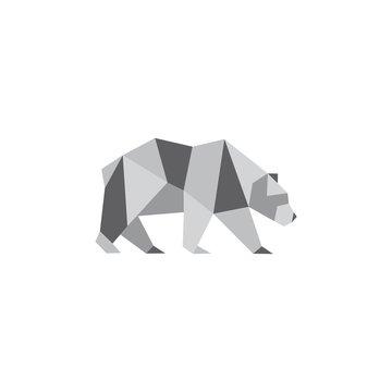 Illustration of origami bear isolated on white background