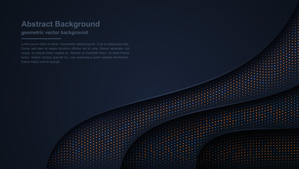 Luxury dark background textured and wavy with a combination of shining dots. Eps10 vector illustration