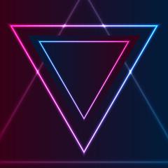 Blue purple retro neon laser triangle abstract background