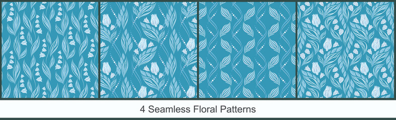 Seamless vector floral patterns with abstract flowers and leaves in monochrome light colors on marine-blue background. Set of endless ornamental prints