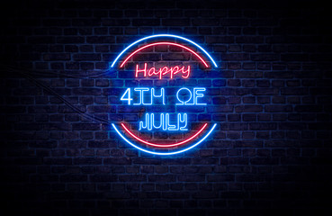 A red and blue neon light sign that reads: Happy 4th of July