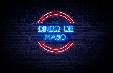 A red and blue neon light sign that reads: Cinco De Mayo