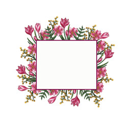 Hand drawn spring flowers crocus mimosa frame