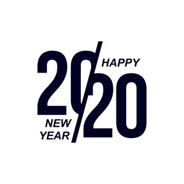 2020 Logo Happy New Year. Set Of Celebration Text Graphics. Cover Of Business Diary For With Wishes. Brochure Design Template, Poster, Card, Banner. Vector Illustration. Isolated On Blue Background.