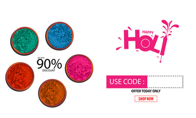 Indian festival of color holi party template or flyer design. - Vector