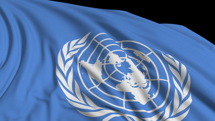 3d rendering of a UN flag. The flag develops smoothly in the wind