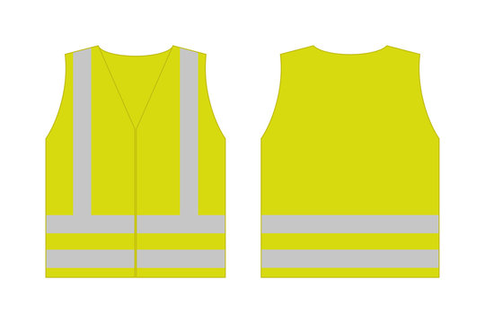 Yellow reflective safety vest for people,front and back view uniform template,