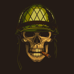 Original vector illustration of a retro skull soldier in a helmet with a cigar in his mouth