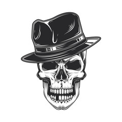 Monochrome vector illustration of a skull in a stylish hat. Retro style