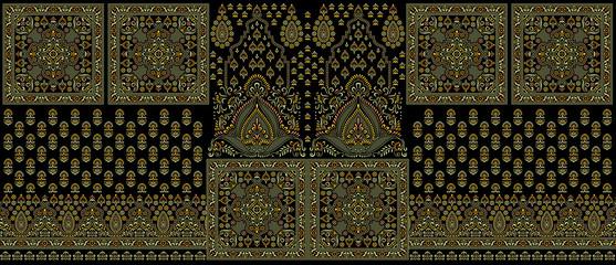 Seamless traditional indian dark textile design border