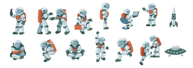 Cartoon spaceman, cosmonaut, spacesuit vector set isolated on white background