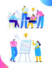 Brainstorming creative team idea discussion people. Teamwork staff around table laptop. Team thinking and brainstorming.  Analytics of company information. Flat vector illustration