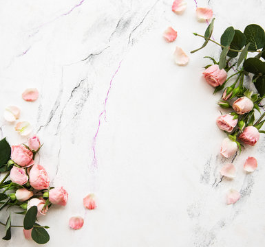 Holiday background with pink roses