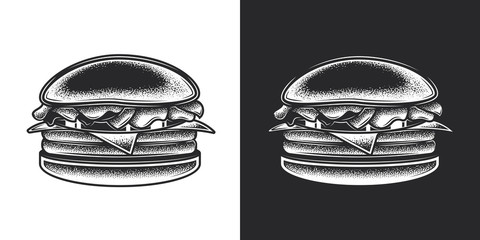 Monochrome vector illustration of a hamburger in vintage style.