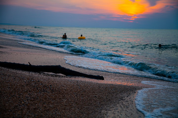 Beautiful sea at sunset.