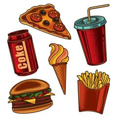 Original vector set of fast food illustrations in vintage style