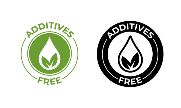 Additives free no added vector leaf and drop icon. Additives free seal, natural food package symbol