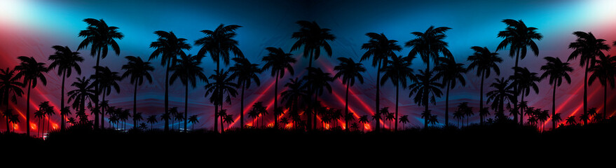 Night landscape with stars, sunset, stars. Silhouette coconut palm trees Vintage tone. Lights of the night city, neon, coast.