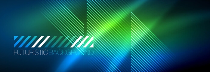 Neon glowing techno lines, hi-tech futuristic abstract background template with lines