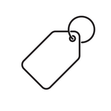 Price tag vector icon label. Pricetag with ring, luggage tag or keychain symbol
