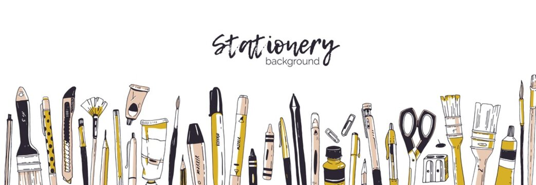 Horizontal banner template decorated by hand drawn stationery, writing utensils. Backdrop with office tools, art supplies and place for text on white background. Realistic vector illustration.