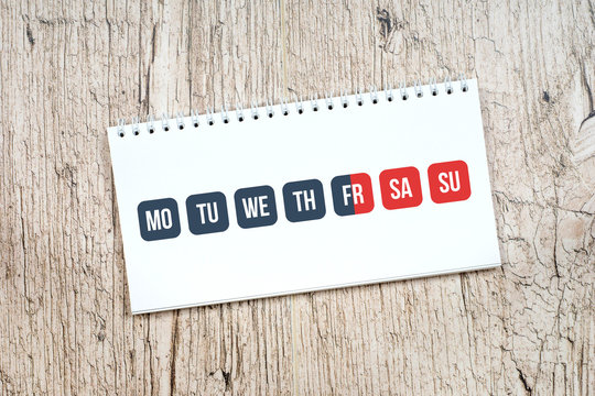 weekend concept, gray work days and red weekend calendar