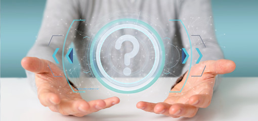 Man holding a Technology question mark icon on a circle 3d rendering