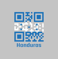 QR code set the color of Honduras flag. A horizontal triband of blue and white with five blue stars arranged in an X pattern.