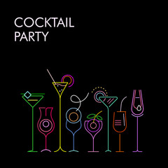 Canvas Prints Abstract Art Cocktails neon colors vector background