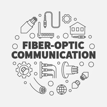 Fiber-optic Communication round vector outline concept illustration