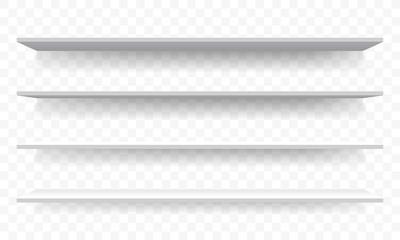 3D shelves white wall perspective. Vector isolated shelf racks mockup template