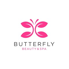 butterfly logo vector with leaf icon illustration