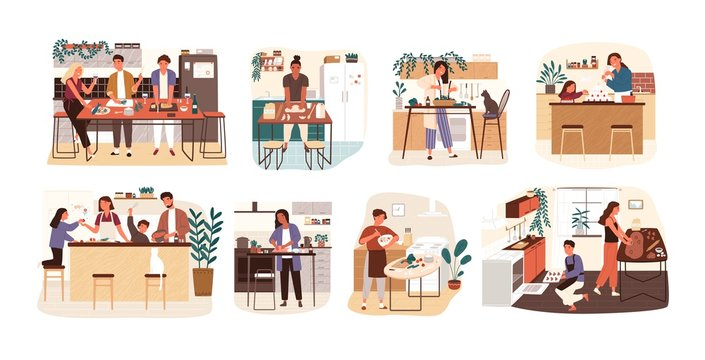 Collection of people cooking in kitchen, serving table, dining together, eating food. Set of smiling men, women and children preparing homemade meals for dinner. Flat cartoon vector illustration.