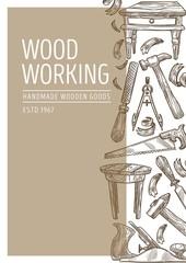 Obraz Wood working carpentry tools and handmade wooden goods - fototapety do salonu