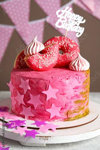 Tasty Birthday Cake On Light Table