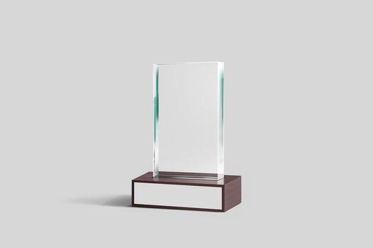 Blank Glass Trophy Award Mock-up. 3D rendering