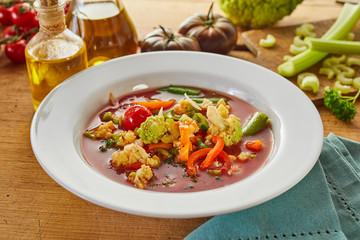 Bowl of tasty Italian minestrone soup