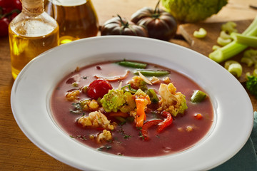 Italian minestrone soup with fresh vegetables