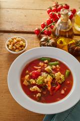 Bowl of delicious Italian minestrone soup