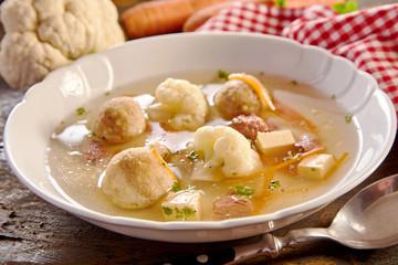 Specialist spring soup with bone marrow dumplings