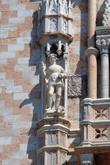 Saint Theodor, detail of the Doge Palace, St. Mark Square, Venice, Italy, UNESCO World Heritage Sites
