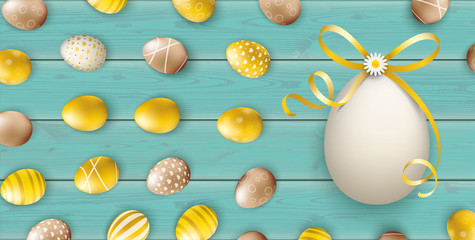 Golden Easter Eggs Bow Wood Turquoise Header