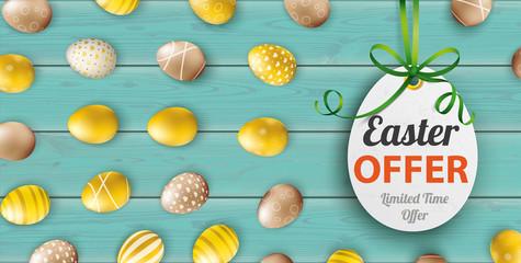 Golden Easter Offer Eggs Price Sticker Wood Turquoise Header