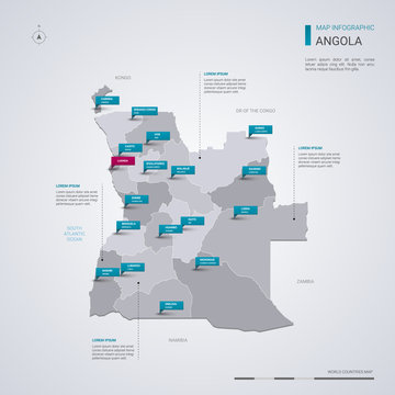 Angola vector map with infographic elements, pointer marks.