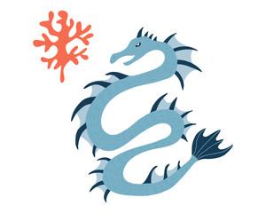 Sea Dragon.Cartoon animal character. Vector illustration isolated on white background.