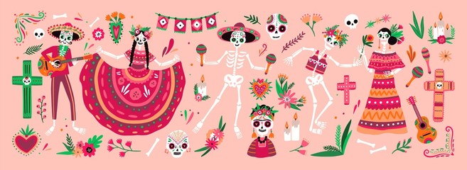 Bundle of Mexican Dia de los Muertos symbols - skeletons dressed in national folk costumes playing guitar, maracas or dancing and celebrating holiday. Traditional festive vector illustration.