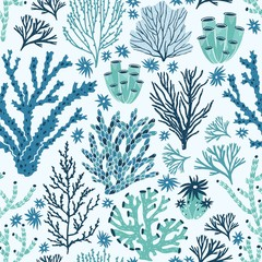 Wall Mural - Seamless pattern with blue and green corals and seaweed. Backdrop with seabed species, underwater flora and fauna, aquatic life. Flat decorative vector illustration for fabric print, wallpaper.
