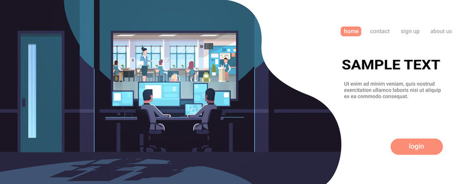 two men looking at monitors behind window teacher with pupils studying in school classroom dark office interior surveillance security system horizontal copy space
