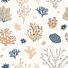 Wall Mural - Natural seamless pattern with orange and blue corals, seaweed or algae. Backdrop with oceanic species, aquatic flora and fauna, biodiversity of tropical seabed. Flat vector illustration for wallpaper.