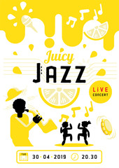 juicy jazz with saxophone man poster